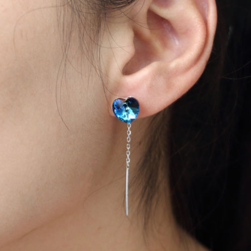 925 Sterling Silver Blue Crystal Gemstones Jewelry Drop Earrings