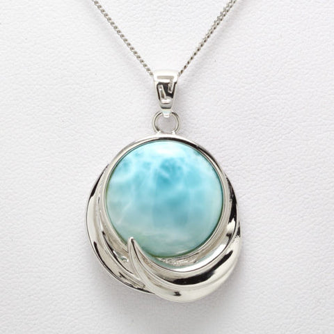 925 Sterling Silver Natural Dominican Larimar Gemstones Necklace Pendant 18""