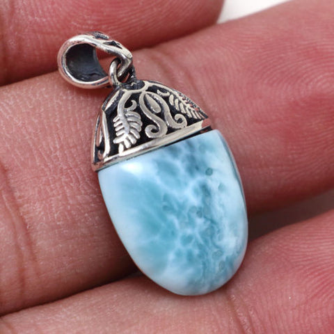 925 Sterling Silver Natural Dominican Larimar Gemstones Pendant Necklace 18""