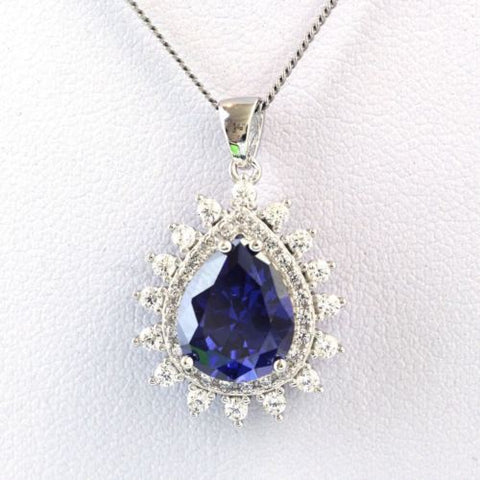 Tanzanite Cubic Zirconia Gemstones 925 Sterling Silver Jewelry Pendant Necklace