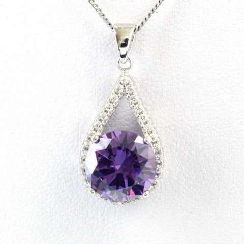 New 925 Sterling Silver Amethyst Cubic Zircon Gemstones Jewelry Pendant Necklace