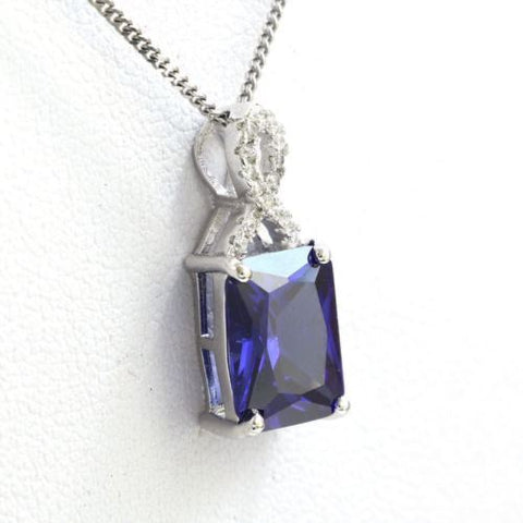 925 Sterling Silver Tanzanite Cubic Zirconia Gemstones Jewelry Pendant Necklace