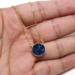 925 Sterling Silver Blue Druzy Quartz Gemstones Jewelry Pendant Necklace 18""