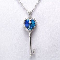 925 Sterling Silver Blue Crystal Cubic Zirconia Gemstones Pendant Necklace