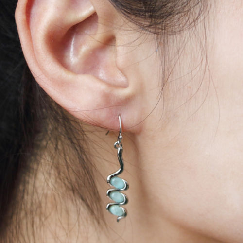 925 Sterling Silver Natural Larimar Gemstones Jewelry Earrings Gift Women