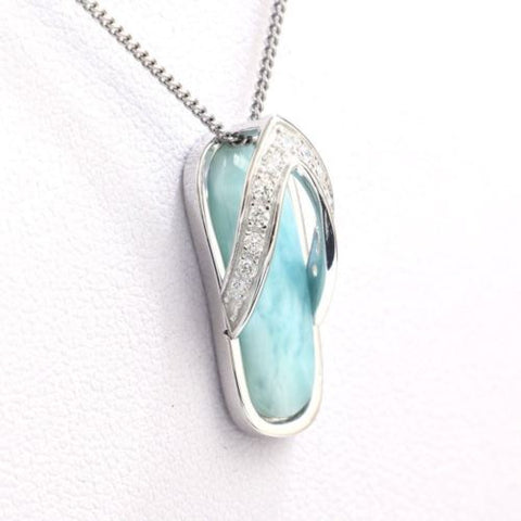 New 925 Sterling Silver Natural Dominican Larimar CZ Gemstones Pendant Necklace