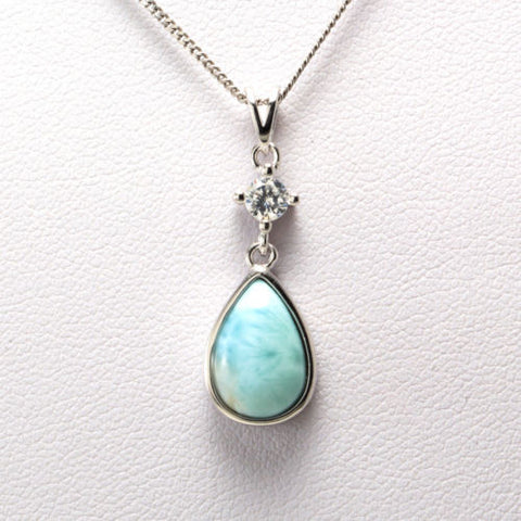925 Sterling Silver Topaz Natural Dominican Larimar Gemstones Pendant Necklace
