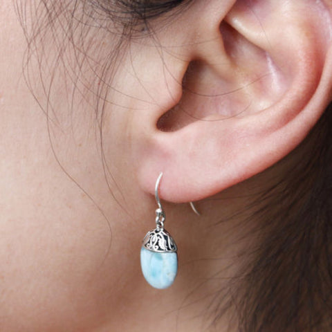 925 Sterling Silver Natural Larimar Gemstones Jewelry Drop Earrings