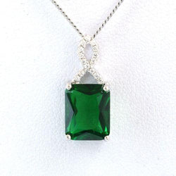 925 Sterling Silver Green Spinel Cubic Zircon Gemstones Jewelry Pendant Necklace