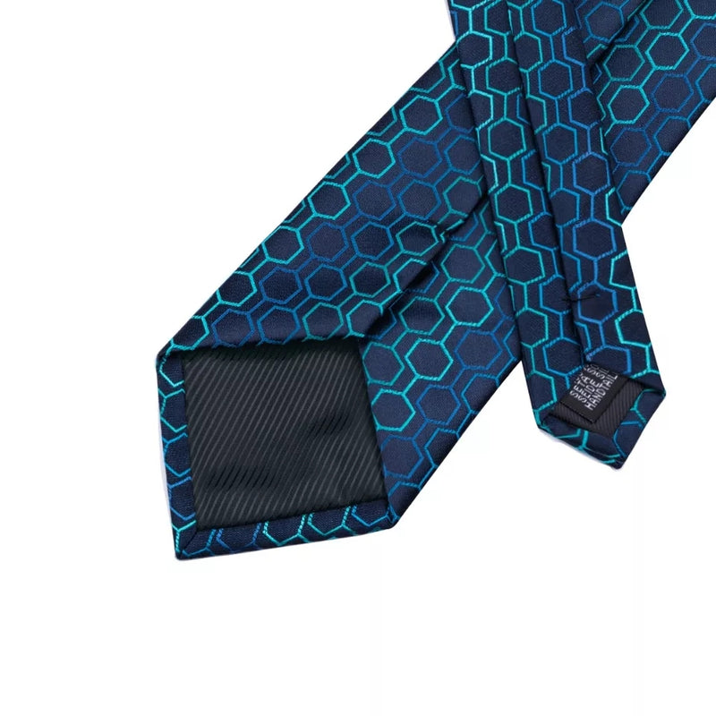 Geometric Blue silk Tie Set of Pocket Square & Cufflinks