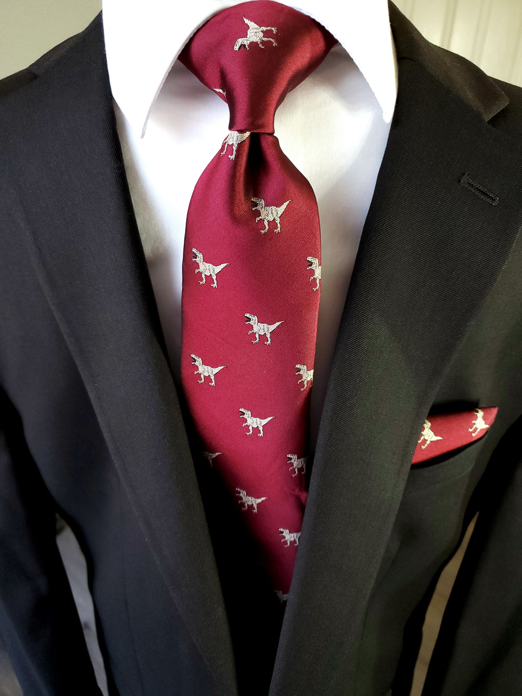 Burgundy Dinosaur Silk Tie Pocket Square Cufflinks Set