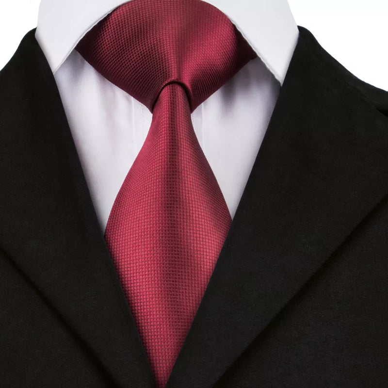 Wine Red Solid Tie Set of Pocket Square and Cufflinks