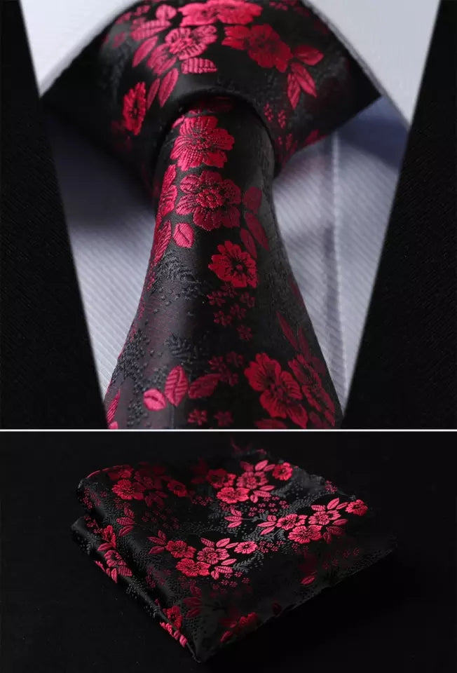 Black Floral Tie Set of Pocket Square