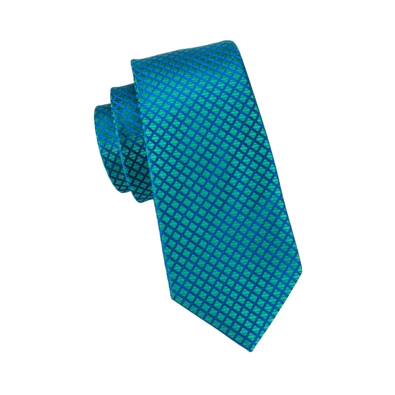 Blue & Emerald Green Silk Tie Pocket Square & Cufflinks Set