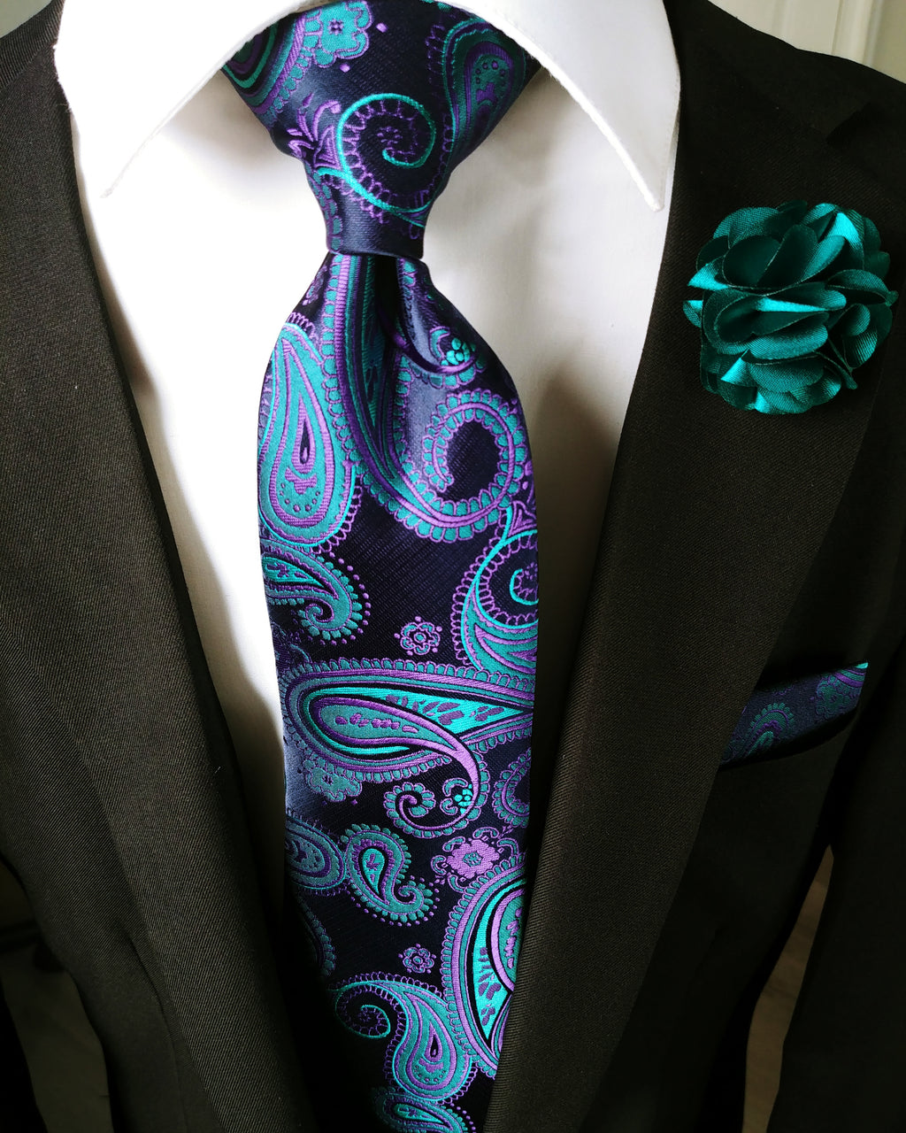 Blue Paisley Silk Tie Pocket Square Cufflinks Set