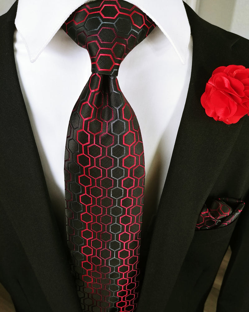 Black Dimgray Red Geometric Tie Set Pocket Square & Cufflinks