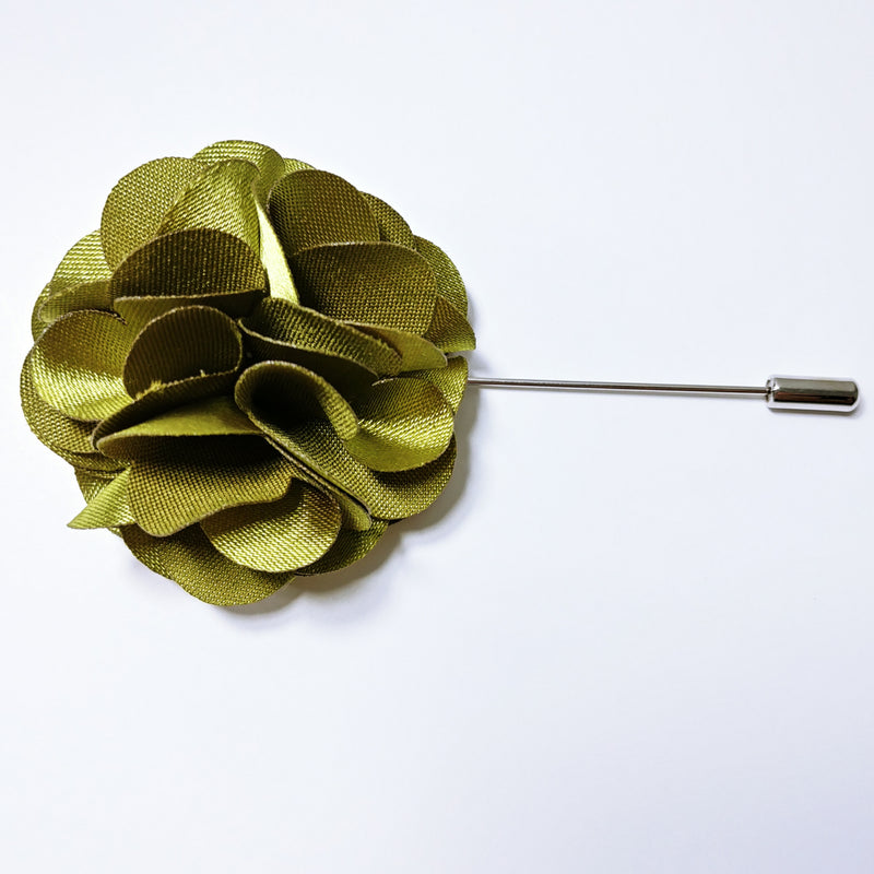 Lapel Pin Floral Olive Green