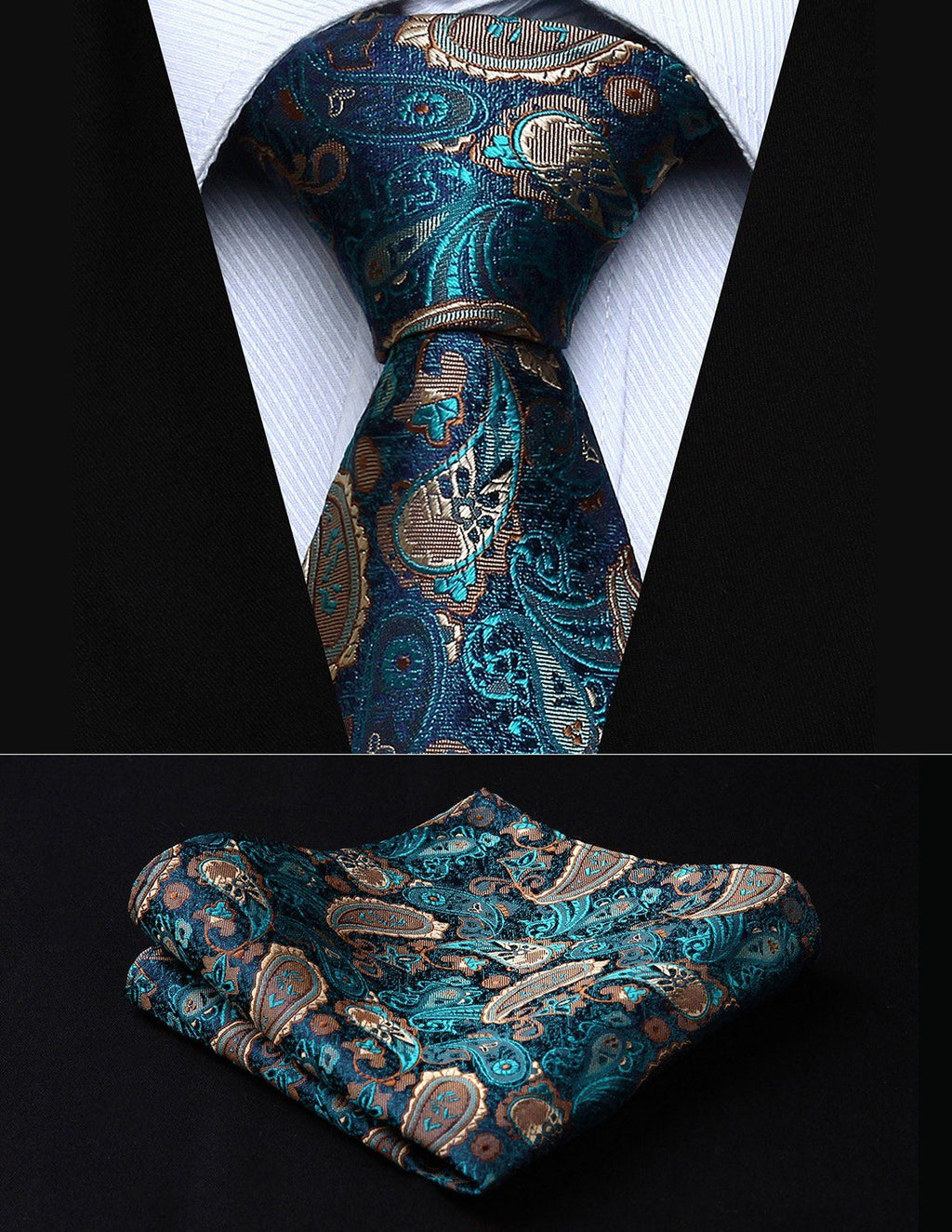"Classic Pocket Square Tie Green Brown Paisley 3.4"" Silk"