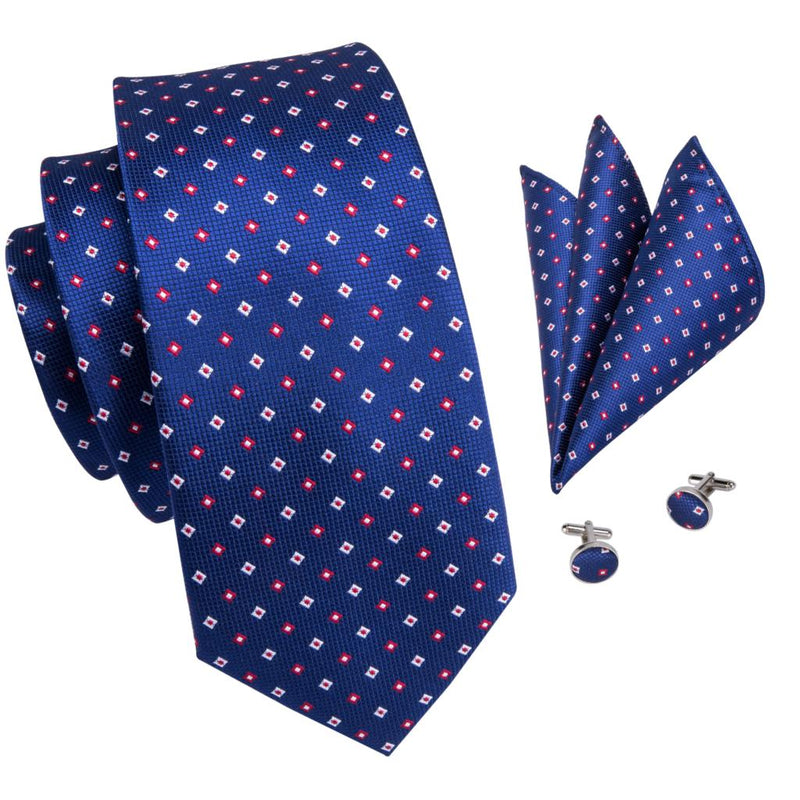 Navy Blue Silk Tie Pocket Square Cufflinks Set