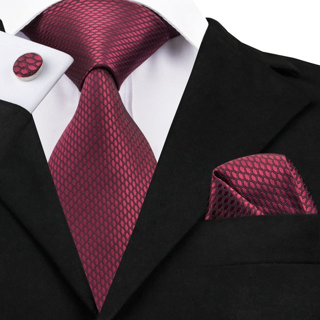 Wine Red Solid Silk Tie Pocket Square Cufflinks Clip Flower Lapel Pin Set