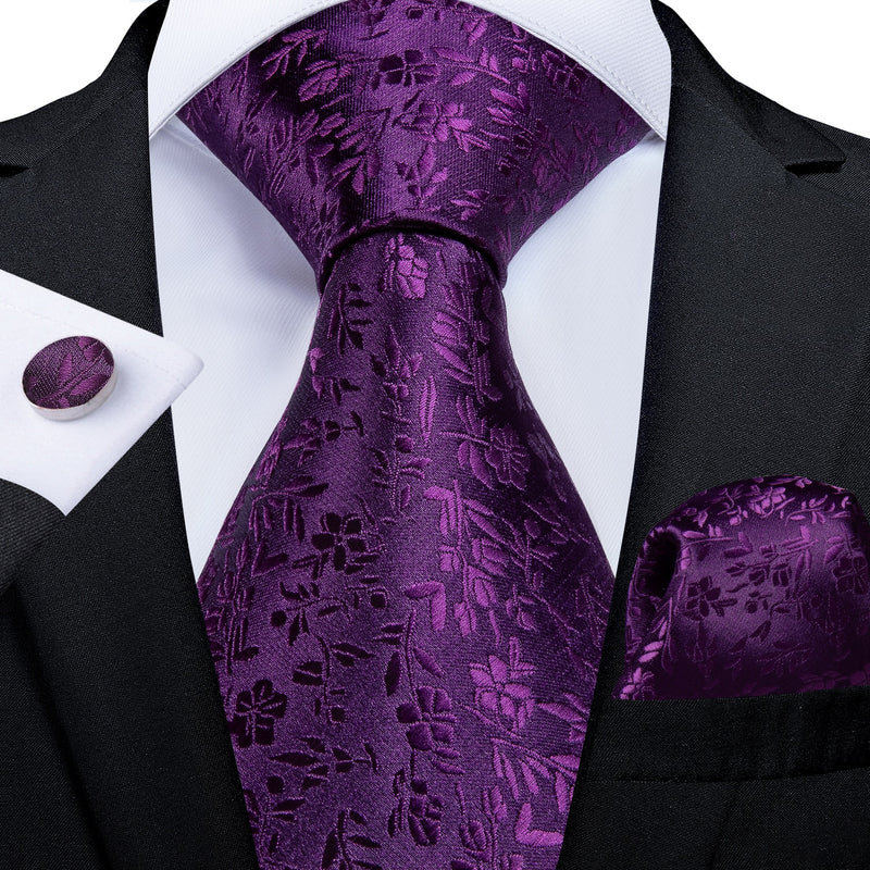 Purple Floral Silk Tie Pocket Square Cufflinks Set