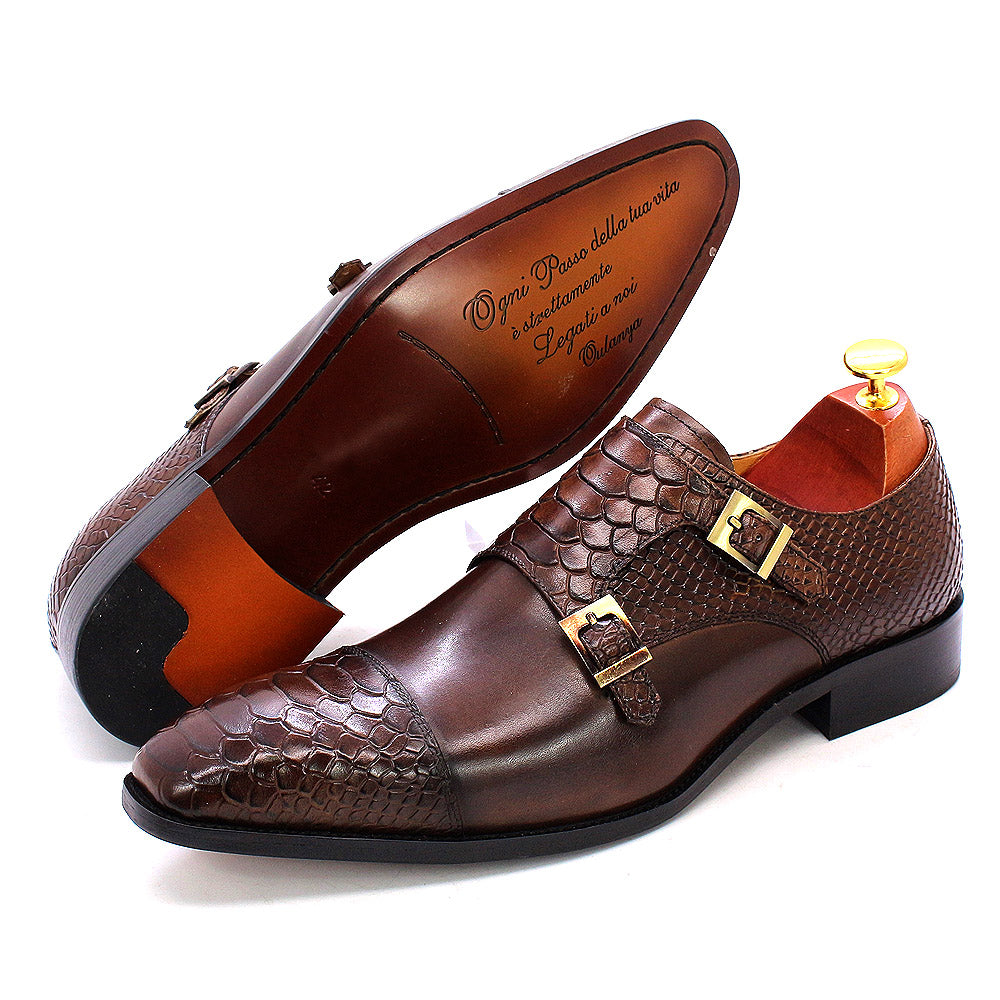 Leather Shoes Italian Design Hand-polished Double Buckle Monk Strap Snake Print Cap Toe