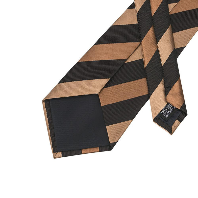 Tie Set Black Chocolate Tan Stripe Tie Hanky Cufflinks 100% Silk