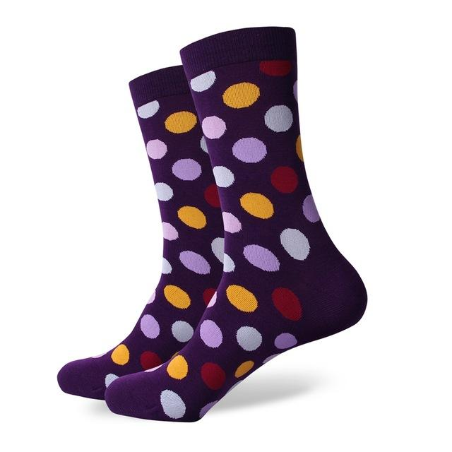 Polka dot  men combed cotton socks