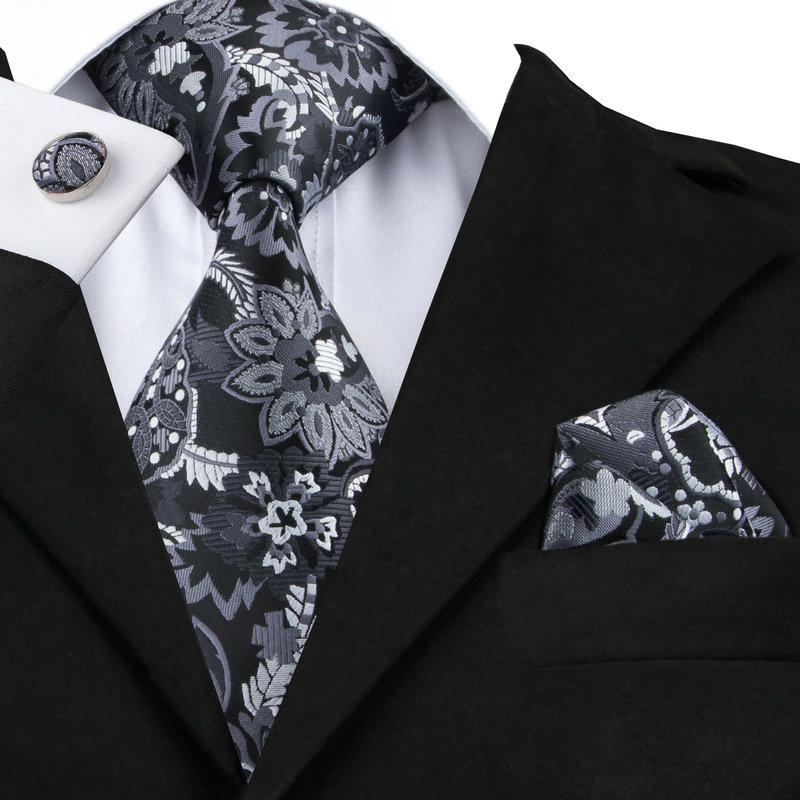 Floral Silk Tie Pocket Square Cufflinks Set