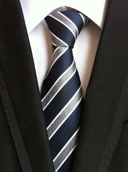 Classic Striped Necktie Navy Blue & Gray