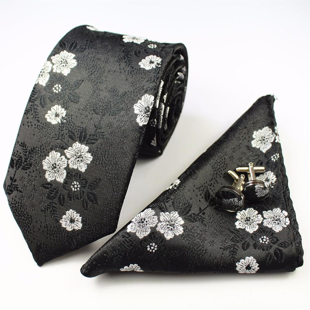 Floral Silk Tie Pocket Square and Cufflinks Set
