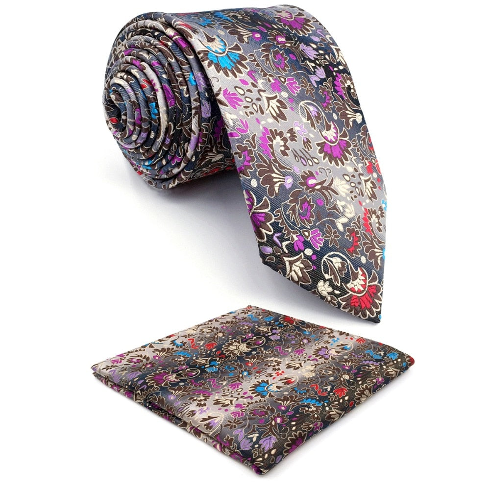 Floral Silk Extra Long Tie Set and Pocket Square