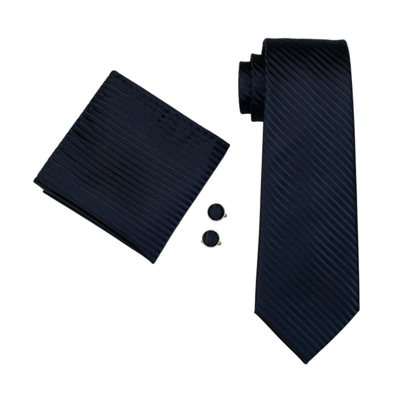Navy Blue & Black Striped Silk Tie Pocket Square & Cufflinks Set