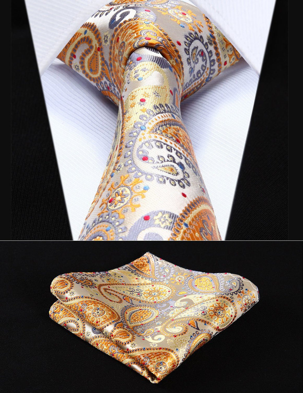 Golden Gray Paisley Silk Tie Pocket Square Set