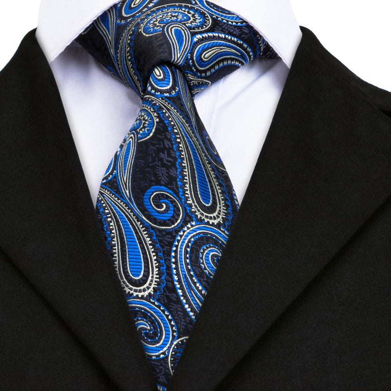 Paisley Blue Tie Set of Pocket Square and Cufflinks