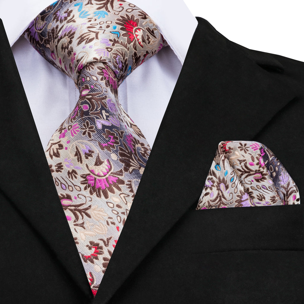 Floral Silk Tie Set and Pocket Square