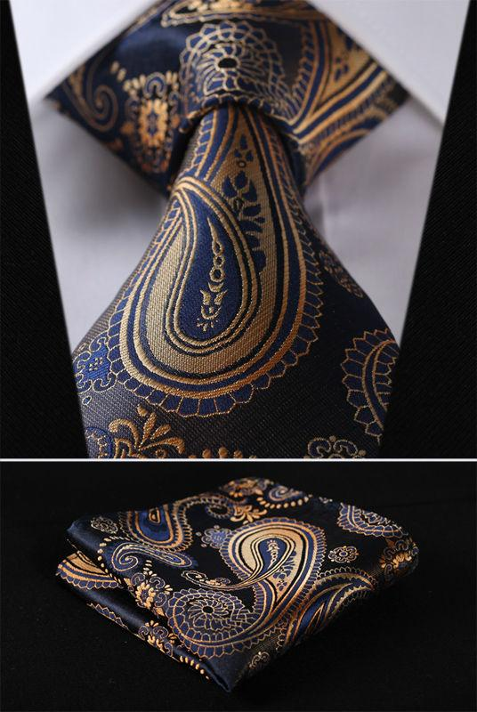 Gold Blue Silk Jacquard Woven Tie Necktie Pocket Square