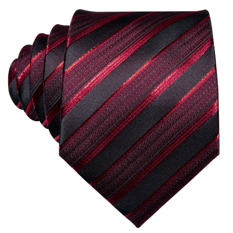 Red Striped Tie Pocket Square & Cufflinks Set