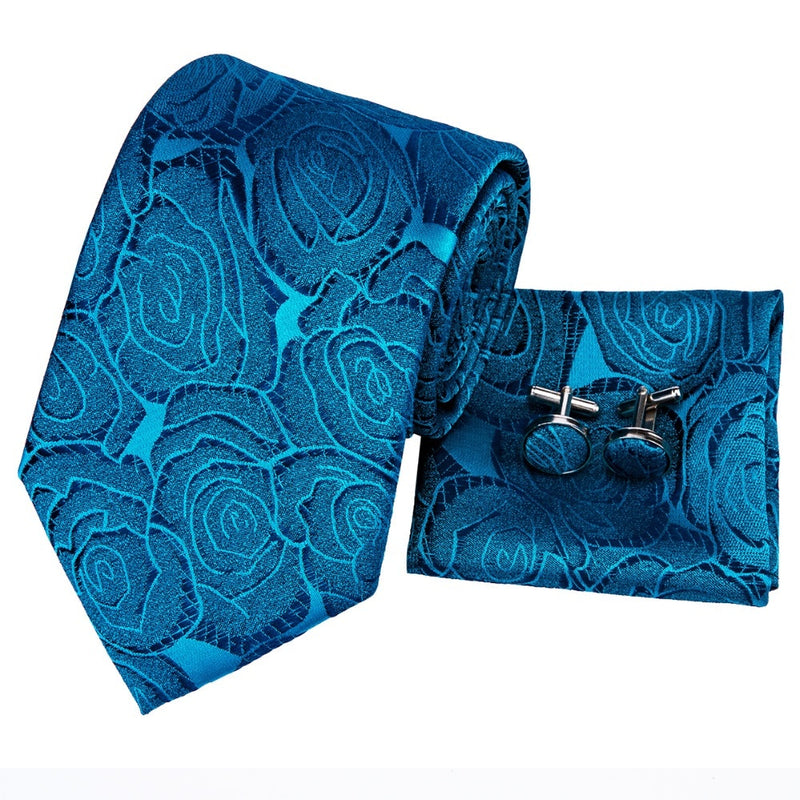 Blue Silk Floral Tie Pocket Square & Cufflinks Set