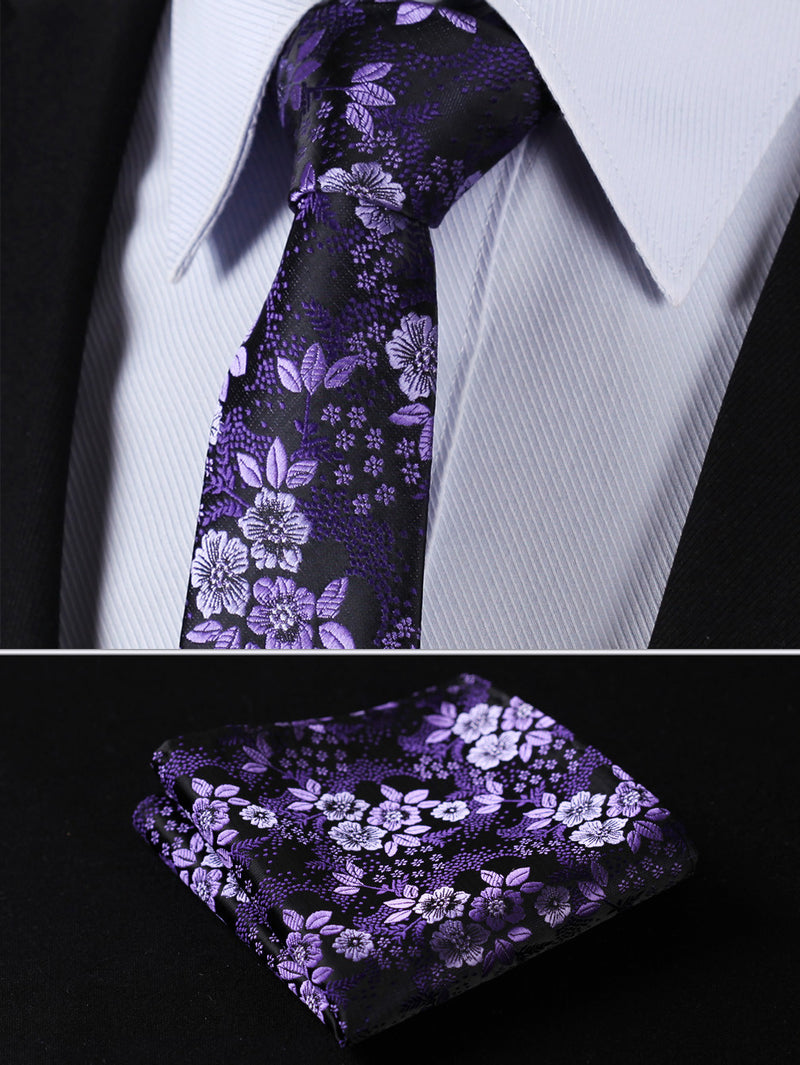 Purple Floral Silk Tie Pocket Square Set