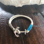 Single Wrap Double Hemp Rope with Hemp Thread Wrap with Anchor Charm