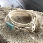 "White All Hemp Multi Wrap ""Hope"" Silver Anchor Bracelet"