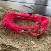 "Pink ""HOPE"" Multi Wrap Bracelet with Anchor Charm."