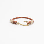 Brown Braided Leather with Fish Hook