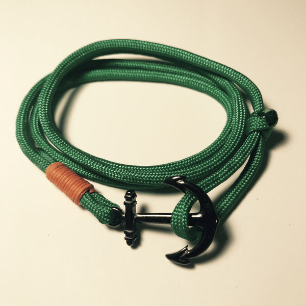 """Green and Orange"" Multi Wrap Paracord Nautical Bracelet."