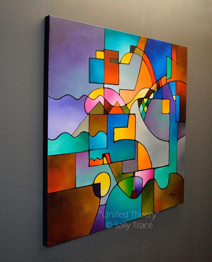 """Unified Theory"" a New Geometric Abstract Painting with Chromatic Grays, Earthy Hues and Brilliant Prismatic Colors"