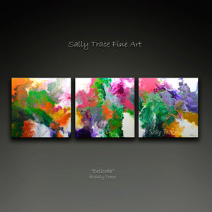 """Delicate"" Fluid Art Pour Painting Giclée Print Set on Canvas"