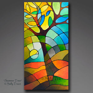 Summer Tree, original textured geometric tree painting