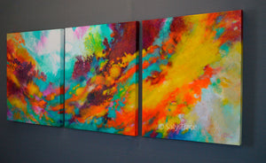 "Original Triptych Painting ""Wonderment"""