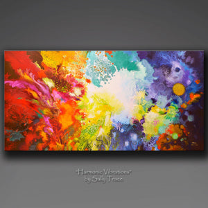 Contemporary modern fluid pour painting giclee prints on canvas by Sally Trace